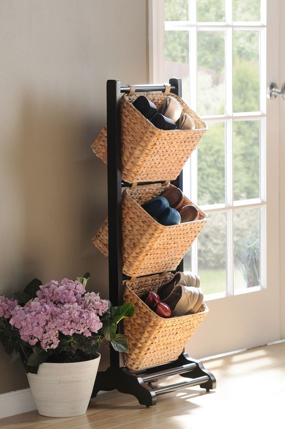 Shoe Storage for Small Spaces - Tiered Baskets