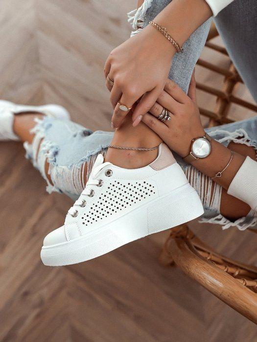 Bialo Bezowe Adidasy Na Grubej Podeszwie Adidas Stan Smith White Sneaker Adidas Stan