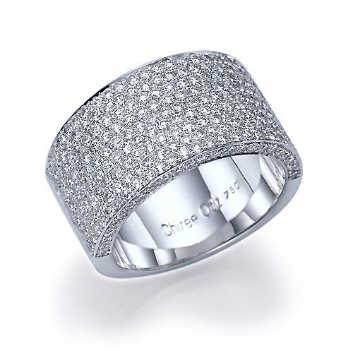 Full Bands: 2.70 Carat 11mm Wide Band Micro Pave Diamond Wedding