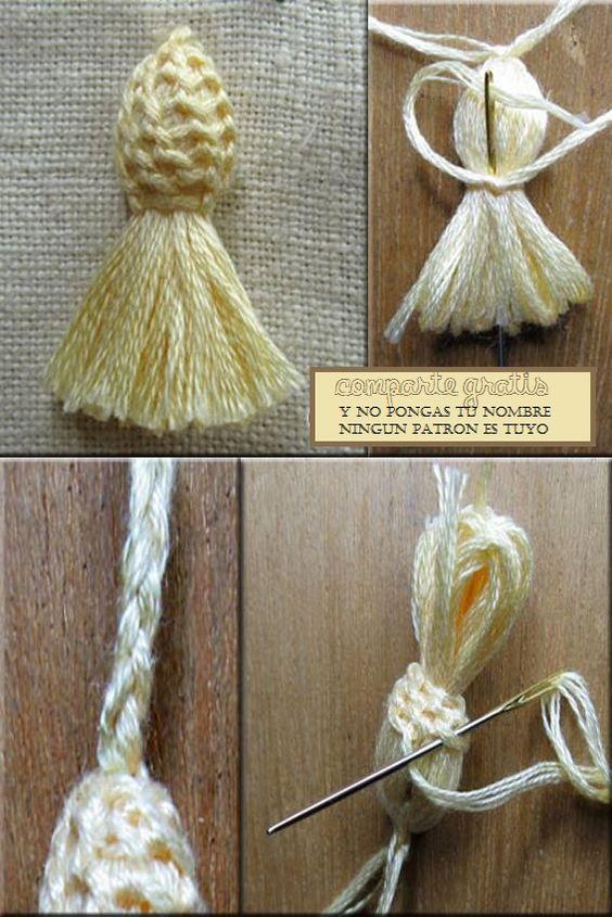 Patrones Crochet: Como hacer Borlas Pompones Alargadas para Adornar