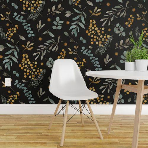Australia Native Flowers Sunshine Wattle Removable Wallpaper Bedroom Pretty Decor Removable Wallpaper