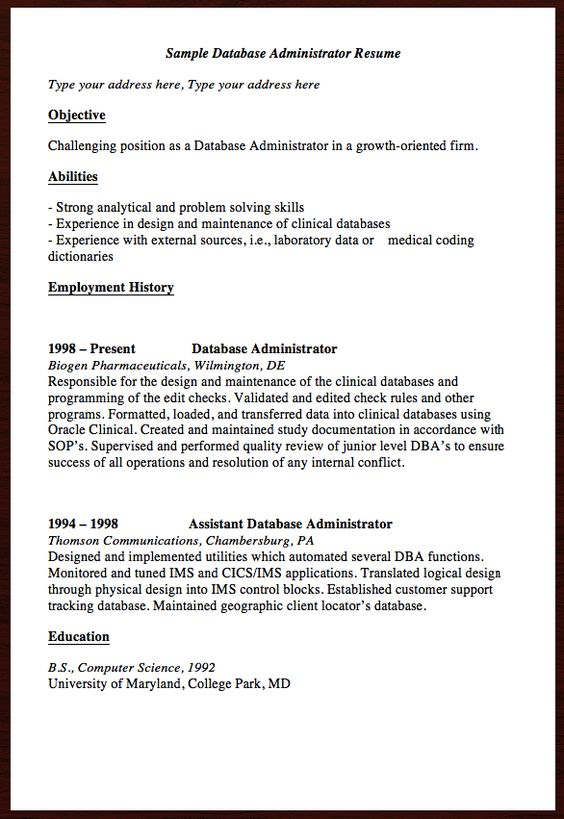 Here is the free Sample Database Administrator Resume, You can - chemist resume objective