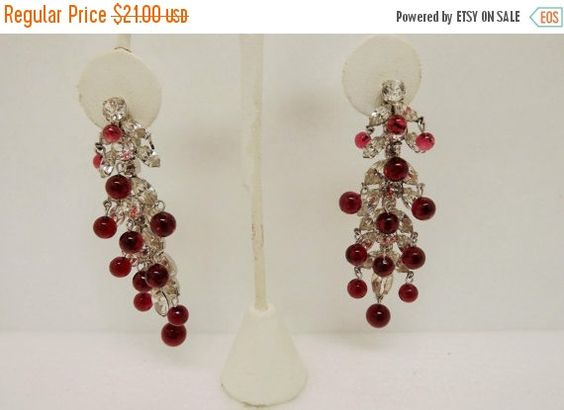 HolidaySale Vintage Pair of Clear Prong Set Rhinestone and Red Lucite Dangle Clip Earrings by In2vintagejewelry2 on Etsy