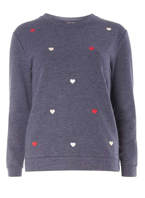 Navy heart embroidered sweat - Tops & T-Shirts - Clothing - Dorothy Perkins