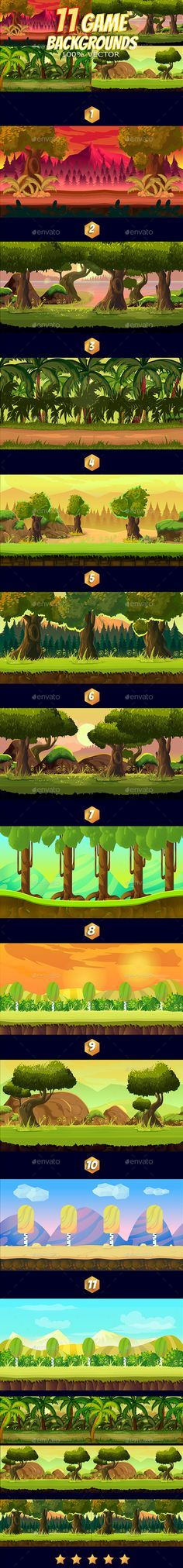 11 Game Backgrounds — Vector EPS #sidescroll #gaming • Available here → https://graphicriver.net/item/11-game-backgrounds/17174947?ref=pxcr
