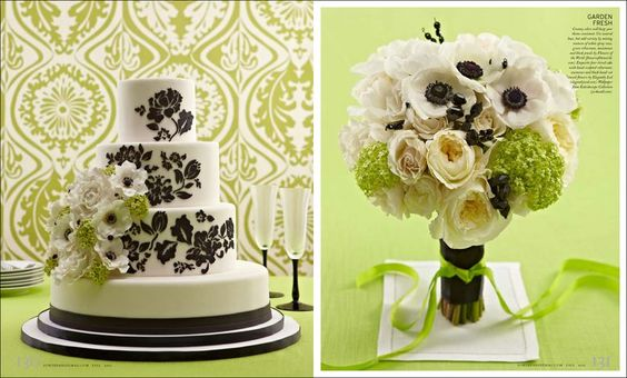 chartreuse, white, and black wedding