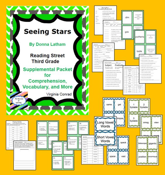 Worksheets Sample Reading Materials For Grade 3 seeing stars supplemental packet reading street third grade materials for story stars