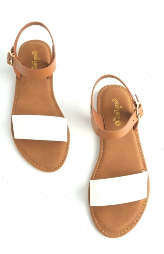 Taryn white flat sandals   Sandals