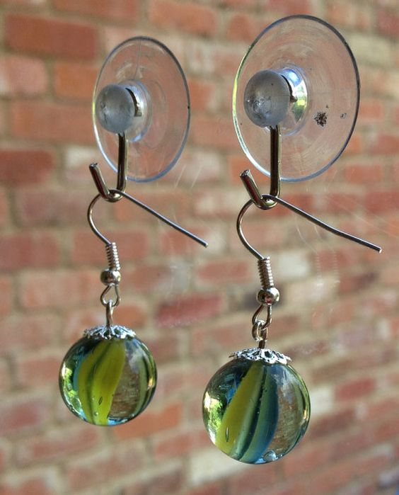 Vintage marble earrings blue yellow 80s cats-eye glass dangle drop  Copy on Etsy, £5.00