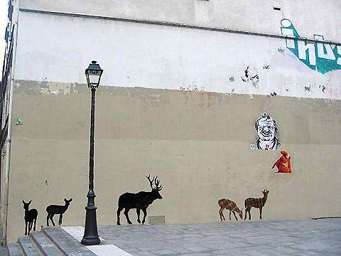 fur coat street art
