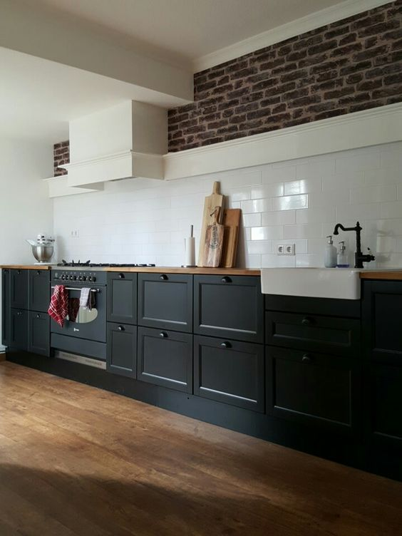 Exposed brick parfait and black on pinterest - Cuisine laxarby ikea ...
