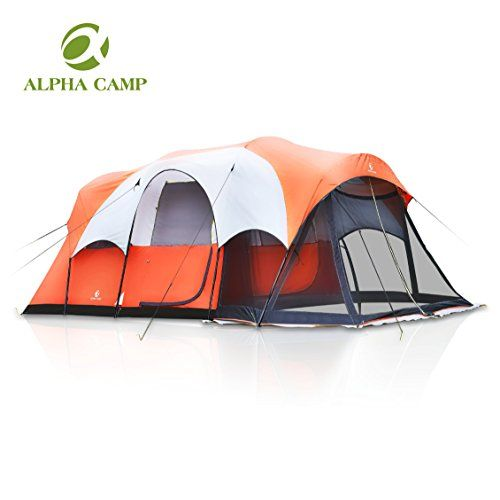 Alpha Camp Cabin Tent Family Camping Tent With Screen Porch Orange White 6 Person 17 X 9 171 99 Family Tent Camping Tent Camping Tent