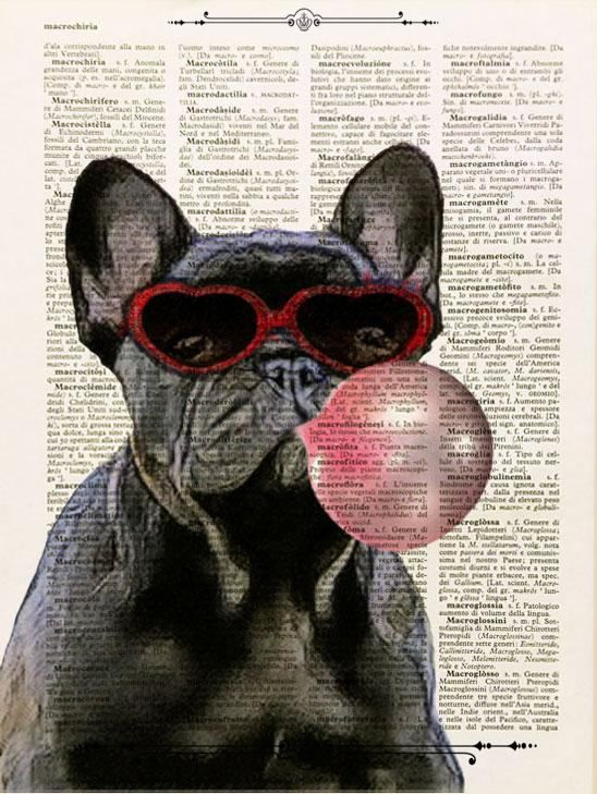 Frenh Bulldog Hat and Glasses Quote Dictionary Art Print Quote Vintage