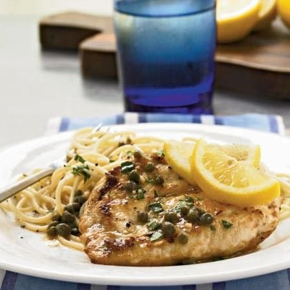 Substitute Quorn Chik'n Cutlets to make a healthier chicken piccata the whole family will enjoy!!