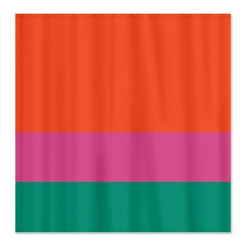 Custom Color Block Shower Curtain-Tangerine Tango-Pink Flambé ...