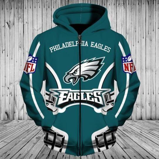 NFL Football Full Zip Up Hoodie Pre-Season 2019 Hooded Zipper Sweatshirt