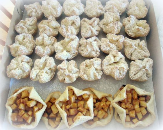 Cheese puffs and apple tartlettes:
