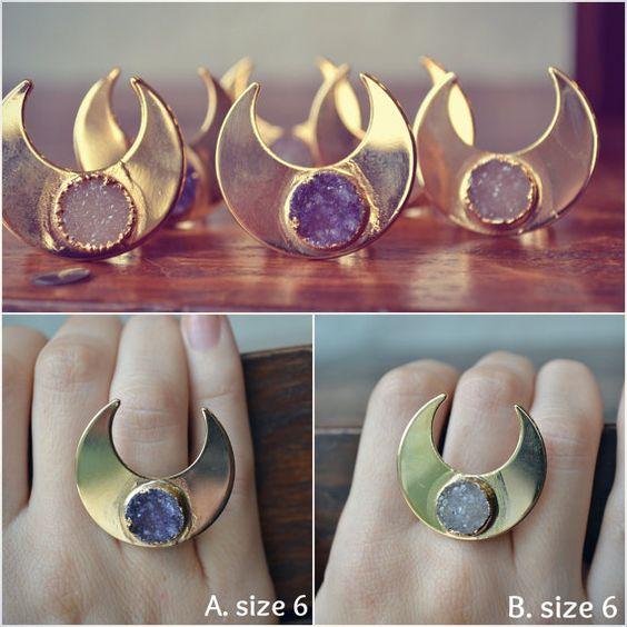 MOONBEAM WARRIOR /// Handcrafted Druzy Ring /// 24kt by luxdivine