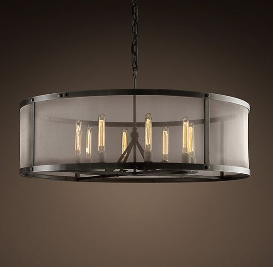 Large Round Foyer Light : Riveted mesh chandelier large from restoration hardware