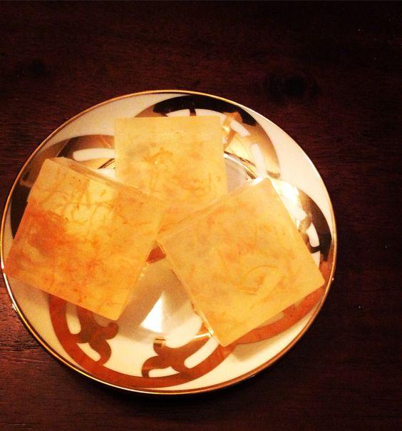 Personal sized Satsuma glycerin soap with orange peel for exfoliation.