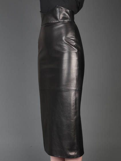 High Waist Leather Skirt