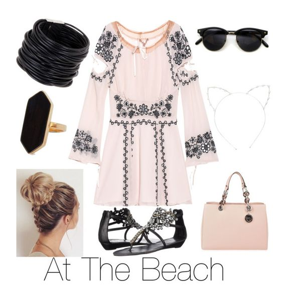 """At The Beach"" by lecekins ❤ liked on Polyvore featuring For Love & Lemons, Yellow Box, MICHAEL Michael Kors, Cara, Saachi and Jaeger"