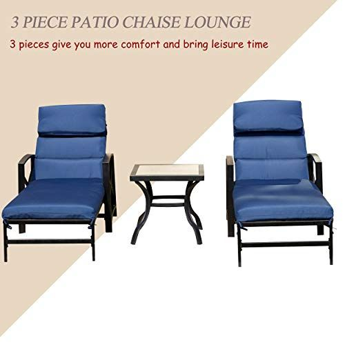 Lokatse Home 3 Piece Outdoor Patio Chaise Lounge Arm Adjustable Back And Blue Removable Cus Patio Chaise Lounge Outdoor Patio Chaise Lounge Patio Lounge Chairs