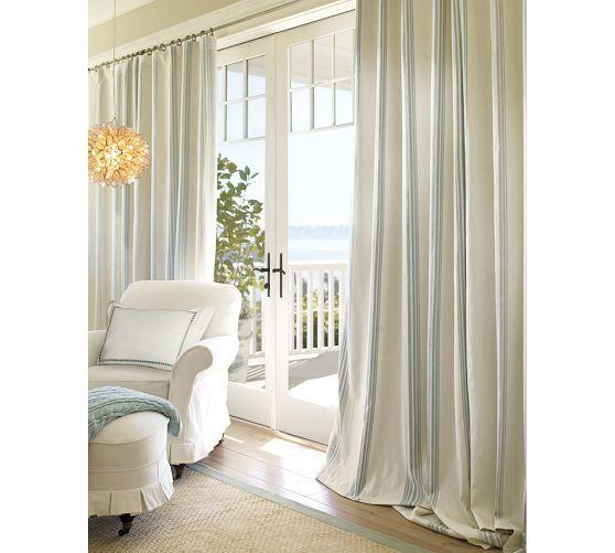 Riviera Stripe cotton drape with blackout liner in Porcelain Blue ...