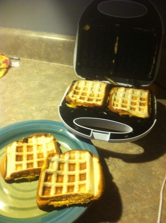 A waffle maker is a busy mom'a best friend when it comes to making quick grilled sandwiches!