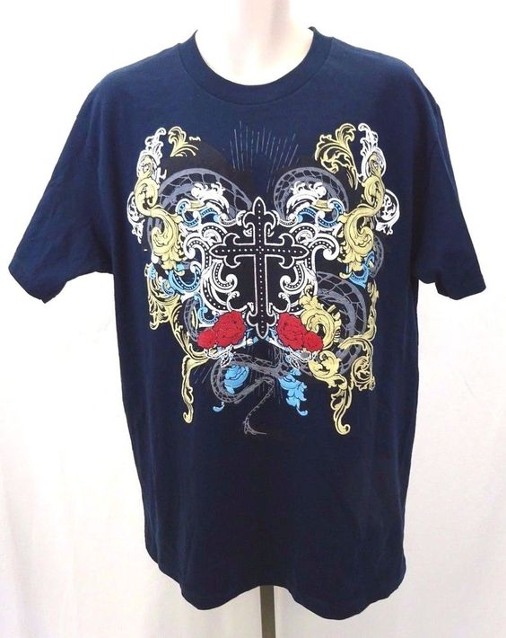 ALSTYLE Cross T-shirt Floral Fun Unique Design Navy Blue NWOT Men's Large Shirt #AlstyleApparel #GraphicTee