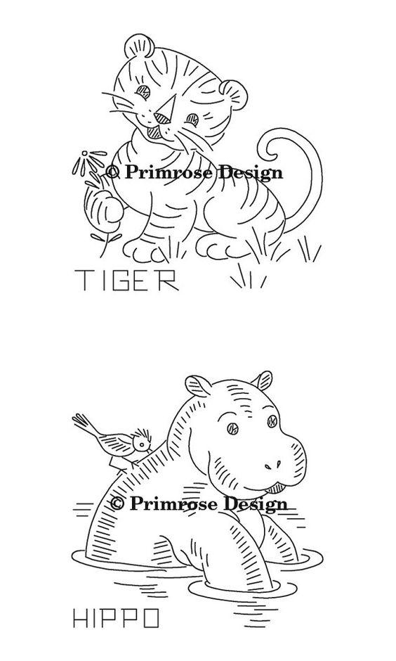 VP127 Wild Animals Vintage Embroidery Pattern PDF | Colcha, Bordado ...