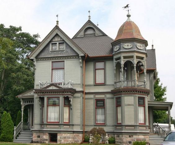 Victorian home style! I think I see a good spot for my circular two story library!