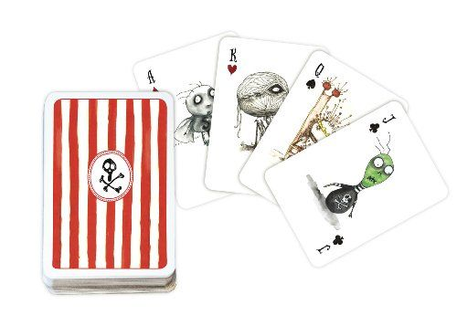Fans of Tim Burton's work now have a playing card set just for them. Tim Burton Playing Cards feature a bunch of his creepy characters.    Whether you are playing war or poker, you will be doing it in Tim Burton style with creepy Kings and Queens and they feature a skull design on back, making them look like a card game straight from one of his movies.