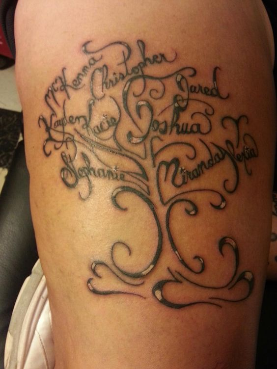 family tree with everyone 39 s name tattoo by eric moser. Black Bedroom Furniture Sets. Home Design Ideas