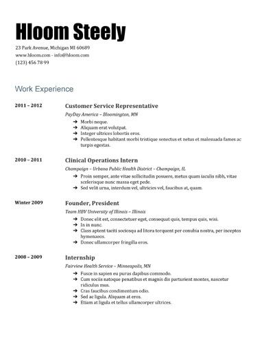 Steely Google Docs Resume Template Resume Templates and Samples - internship resume templates