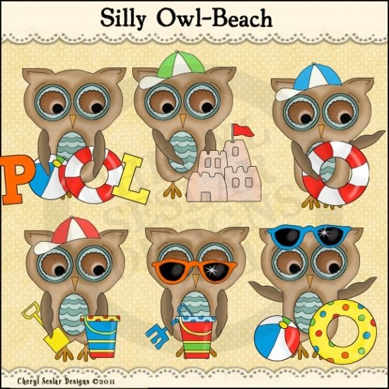 Silly Owls Beach 1 - Whimsical Clip Art by Cheryl Seslar