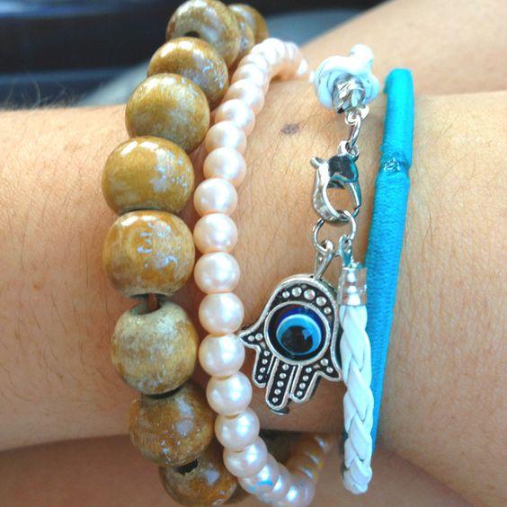 Wooden Chinese bracelet, pearl bracelet, hasma bracelet & teal hair tie