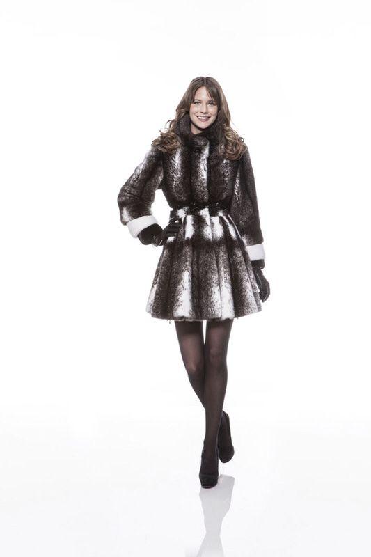 Braschi Black Cross Mink and White Mink Fur Coat