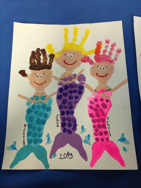 Footprint/handprint mermaids! #colormycoaster www.colormycoaster.com …