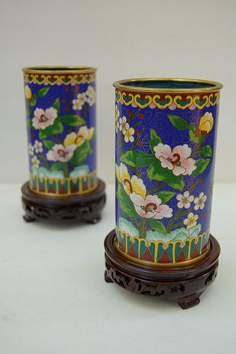Pair Antique Cloisonne Vases on Carved Wood Stands. | Flickr - Photo Sharing!