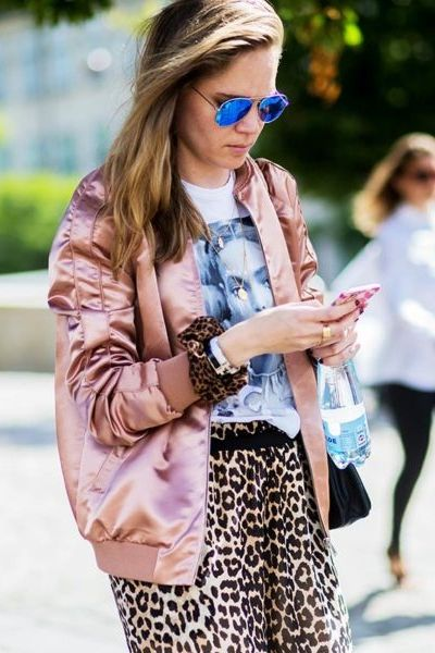 Leopard print with an on-trend bomber jacket at Copenhagen fashion week.: