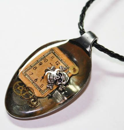 Resin Spoon Pendant - Pirate of Steampunk - Altered Art Necklace $22.00