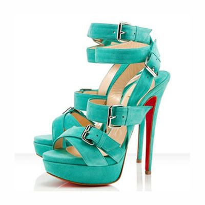 Christian Louboutin Toutenkaboucle 150mm Strappy Buckle Sandals Green Suede