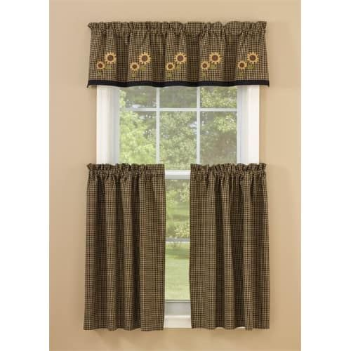 Sunflower Check Lined Curtain Tiers 72 X 36 Lined Curtains