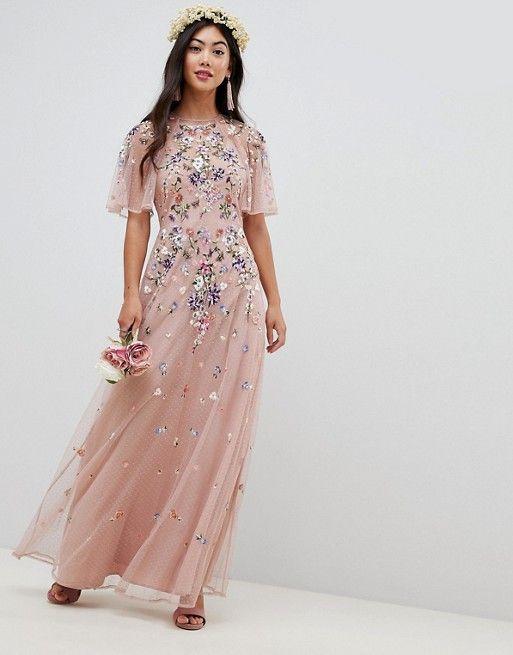 ASOS Petite | ASOS DESIGN Petite Bridesmaid floral embroidered dobby mesh flutter sleeve maxi dress