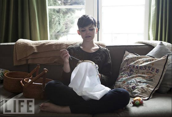Ginnifer Goodwin embroidering...and I love that embroidered state pillow by her side.