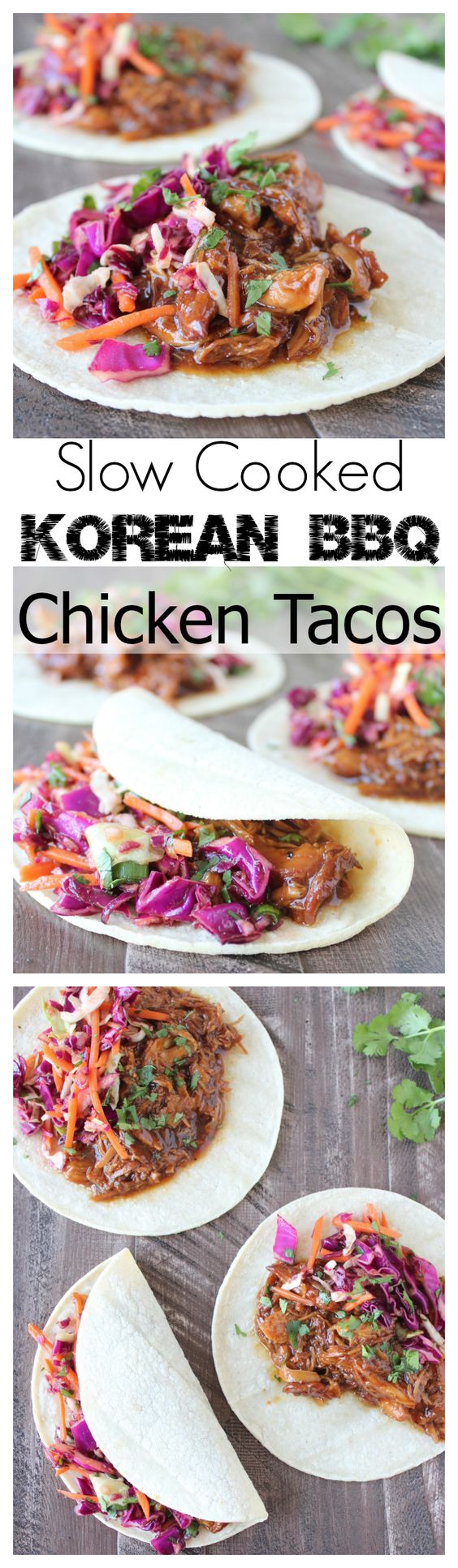 Chicken breasts are slow cooked in the best Korean BBQ Sauce ever, shredded & added to tacos with homemade sweet & spicy Asian Slaw for total taco deliciousness with less than 30 minutes of prep!