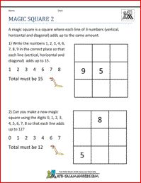 math worksheet : magic square 2 a math puzzle worksheet for 2nd grade and up  : Math Magic Square Worksheet