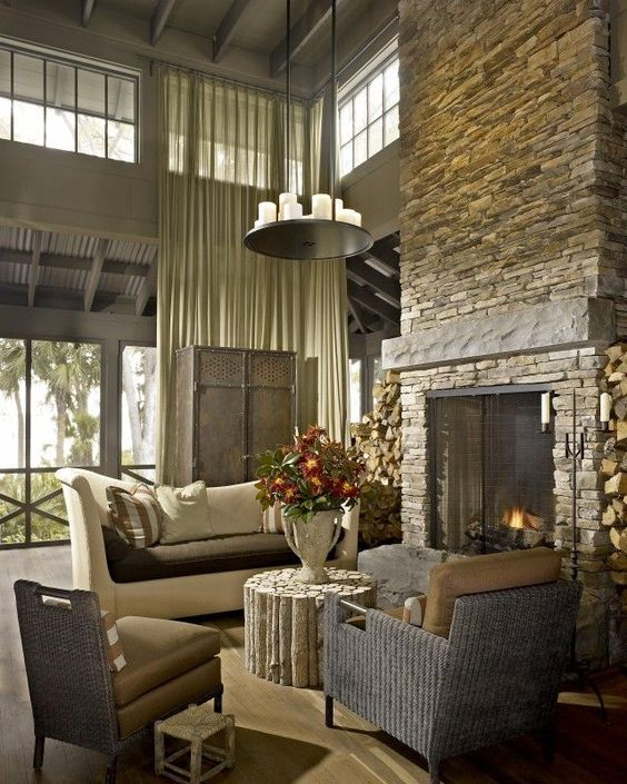 Two Story Fireplace Design Ideas Bathroomfurniturezone 2: Beautiful Two-story Stone Fireplace! #fireplaces Http