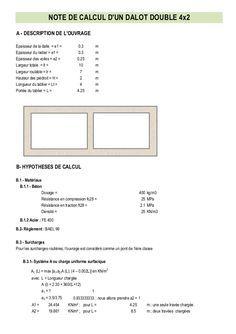 Note De Calcul Dun Dalot Double 4x2a Description De Louvrageepaisseur De La Dalle E1 0 3 Mepaisseu Calcul Planning Chantier Calcul Mur De Soutenement